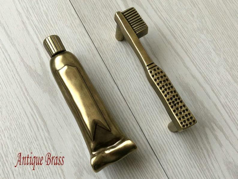 3 Drawer Pull Handles Bathroom Cabinet Door Handle Antique Black Silver Pewter Brass Rustic Knob Toothbrush Toothpaste ARoseRambling 76 mm
