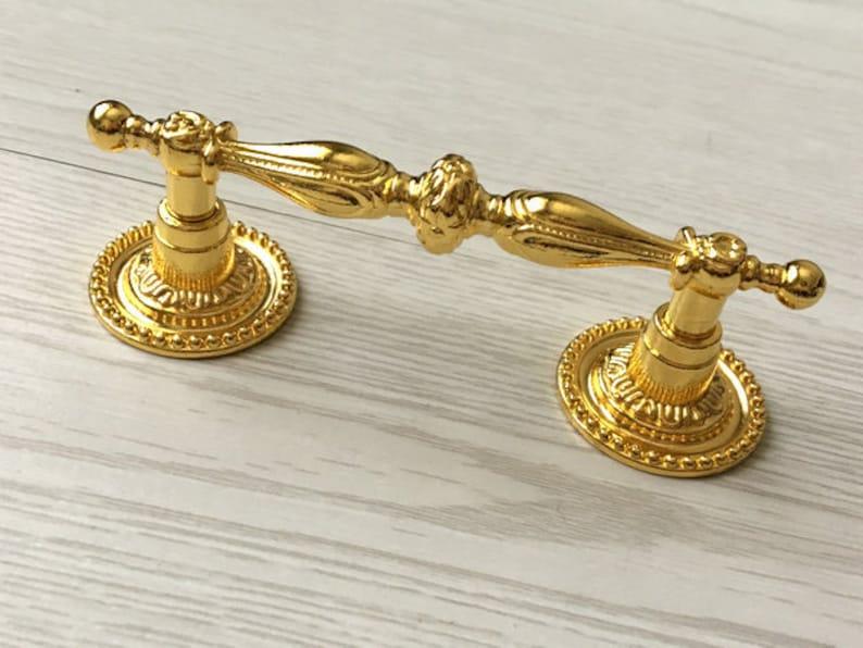 2 12 Gold Drawer Pull Dresser Knob Drawer Knobs Pulls Handles Kitchen Cabinet Knobs Handle Pulls Retro ARoseRambling 2.5 64 mm Hardware