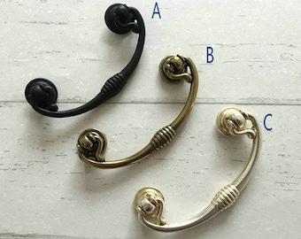 "2.5"" Dresser Pulls Drop Drawer Pull Handles Knob Antique Silver Bronze Black Cabinet Door Handle Vintage Style Bail Swing Pull 2 1/2"" 64 mm"