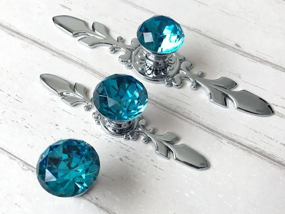 Blue Glass Knobs Crystal Knob Rhinestone Dresser Knobs Drawer Etsy