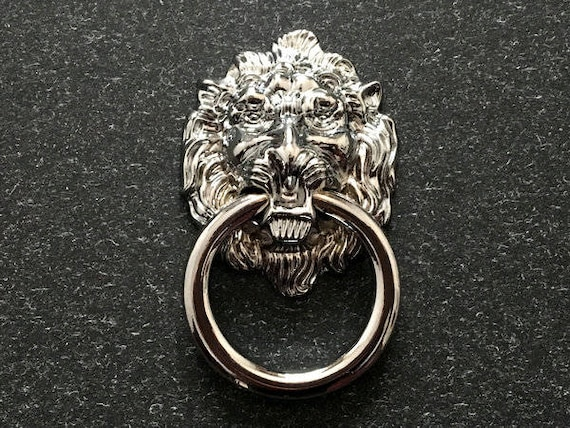Beau Lion Drawer Pull Knobs Dresser Drop Pulls Rings Shabby Chic Chrome Silver  Lion Head Door Knocker Kitchen Cabinet Door Knob ARoseRambling