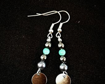 Earrings grey and blue - unique
