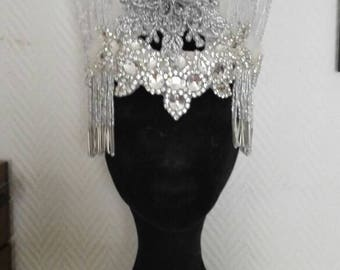 Ice queen frozen Art deco art nouveau headpiece burlesque act headdress