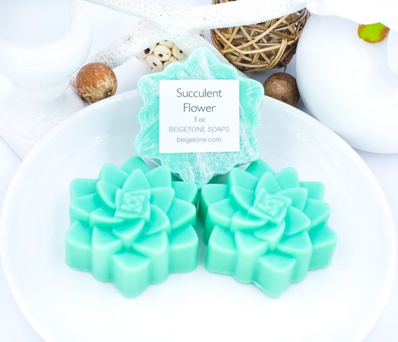 Succulent Soaps (3), 3 oz each, Cucumber, Verbena, Honey & Geranium, Christmas Gifts, Succulent Theme, Holiday Gift Set, Gifts Under 20