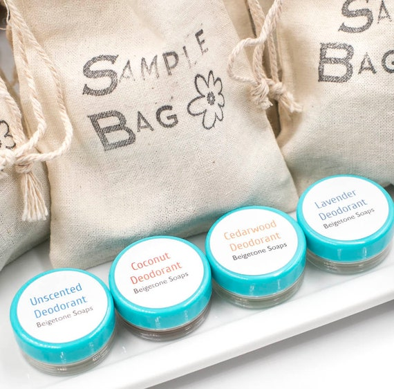 Deodorant SAMPLER in Cute Drawstring Muslin Bag | Try All Deodorants: Unscented, Coconut, Lavender, Cedarwood/Orange
