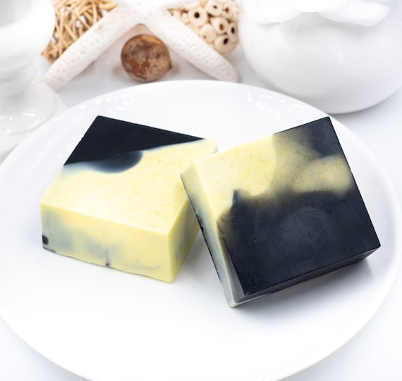Lemon Charcoal Swirl | LARGE 5oz | BUBBLY Goat Milk Bar | Soothing, Creamy | Fresh Citrus-Lemon Scent