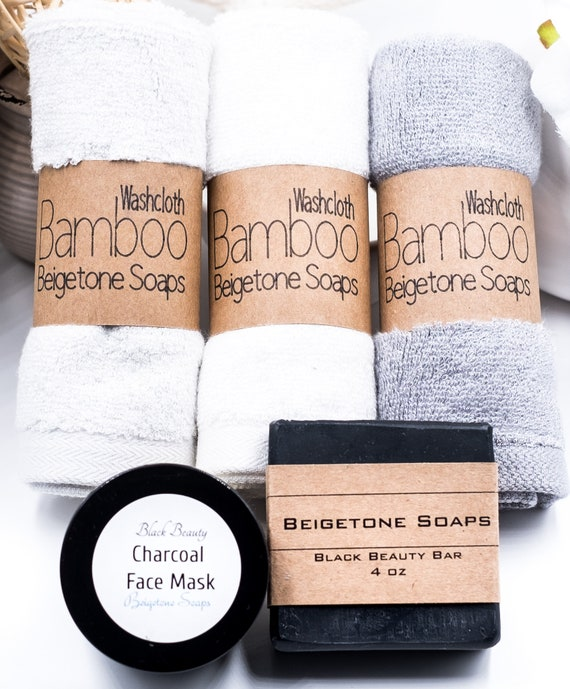 FACIAL TRIO: Black Beauty Charcoal Bar, Face Mask and Soft Bamboo Washcloth (one) in White, Heather or Charcoal Grey