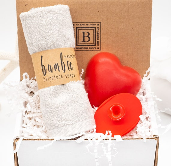 """Peppermint Spice Set, 12'x12"""" Heather Gray Washcloth, Peppermint Spice Soap, Red Silicone Face Scrubby, Mother's Day, New Mom Gift"""