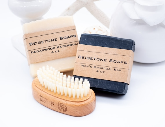 Men's Soap Box Set with Nail Brush, Mens Christmas, Christmas Gifts, Bar Soap, Handmade, For Him, For Dad, Mens Gift Idea, Mens Grooming Set