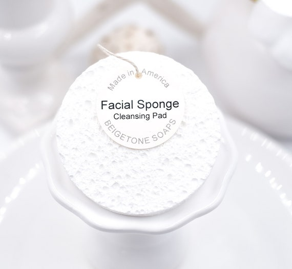 Spa Facial Sponge, Pearl White, All Natural, Made in USA, Face Sponges, Spa Gift, Christmas, Gift Exchange, Small Gifts, Wedding, Shower