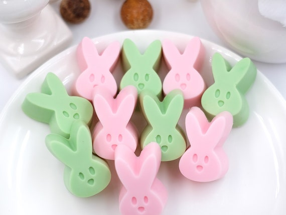 6 Lavender Soap Easter Bunnies | Set of 6 (3 pink, 3 green) | .7oz each | Soothing Scent | Easter Basket FUN!