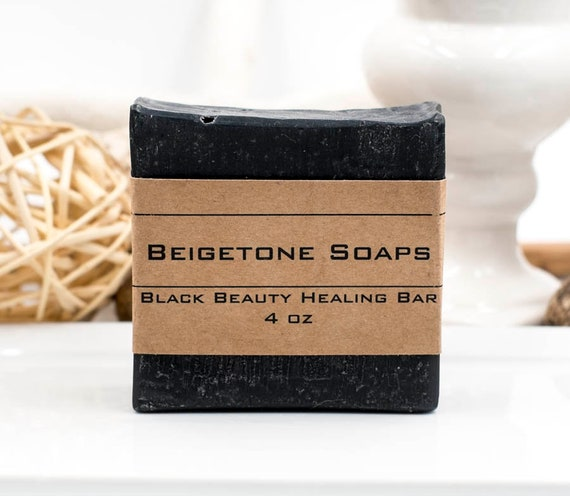 Top HEALER | BLACK BEAUTY Charcoal Bar | 4oz | Avocado and Shea Butter | Treats Acne, Dermatitis, Psoriasis, Oily Skin