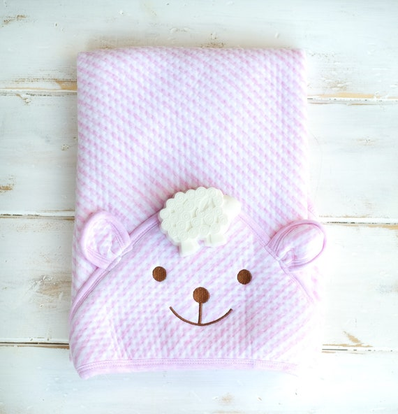"""Pink Hooded Bath Towel w/ Lavender Sheep Soap, 33"""" x 33"""", Baby Bath, Toddler Gift, Baby Gift, Baby Girl Gift, Bath Time, Baby Shower Gift"""