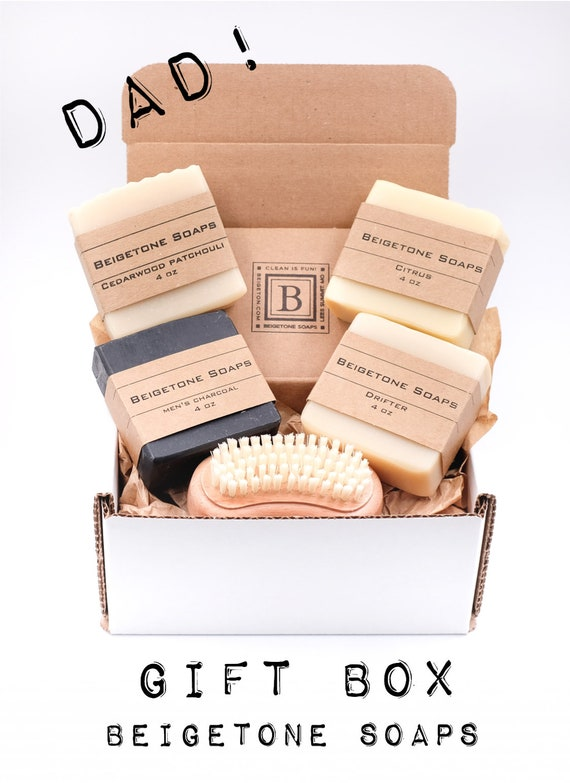 Mens Gift Box | 4 Soap Bars and Nail Brush | Add personalized note! FREE SHIPPING