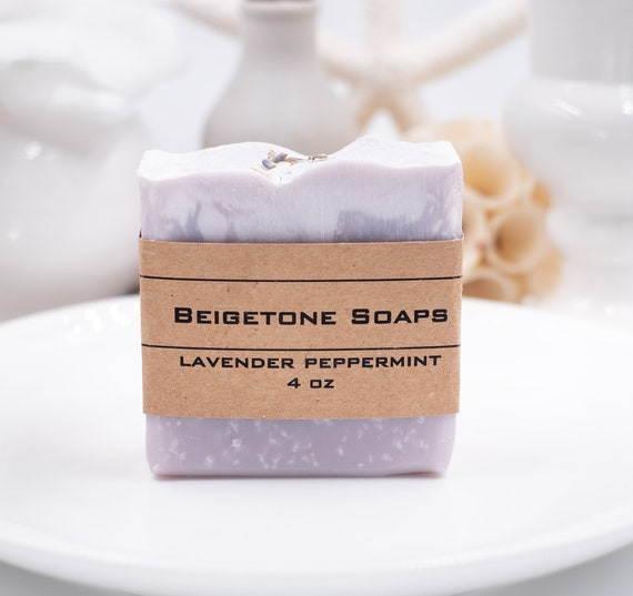 Lavender Peppermint Soap Bar Topped with Lavender Buds | 4oz | Invigorating Scent | Elegant Look
