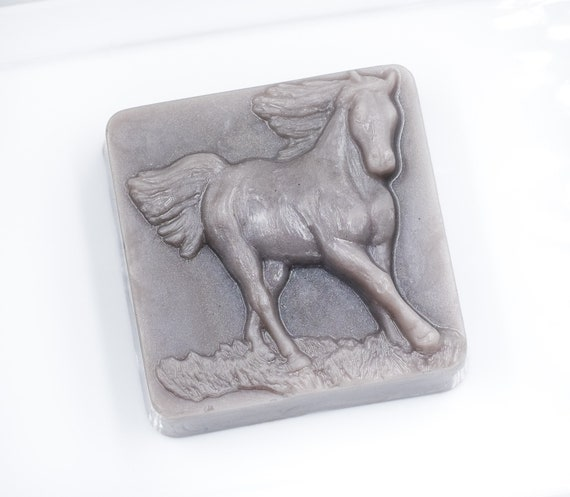 RUNNING FREE HORSE Design Soap Bar | 4oz | Vanilla Rosewood Scent | Slate Gray | Great for Horse Lovers