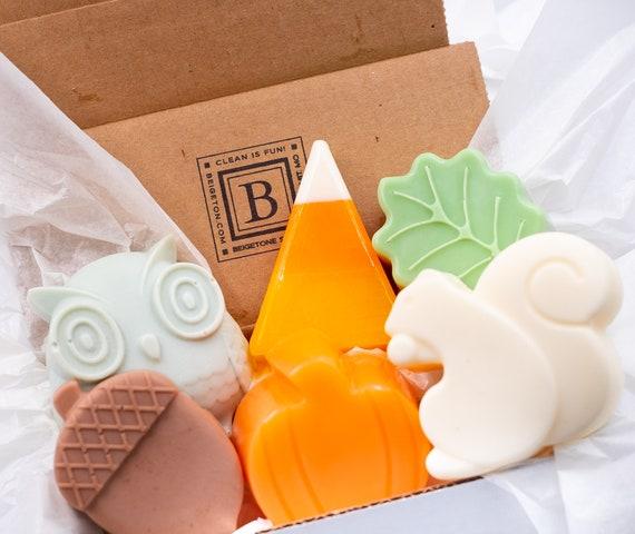 PUMPKIN SPICE Fall Soap Box Set | Six Soaps | ONE Each: Candy Corn, Leaf, Acorn, Owl, Squirrel, Pumpkin
