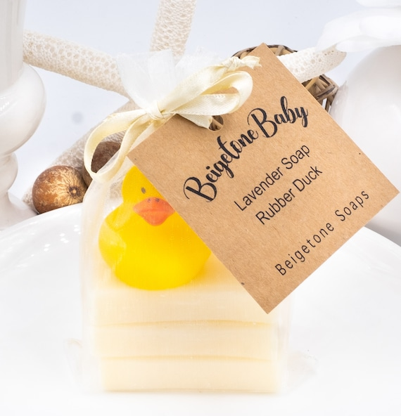 SMALL BABY SET | Lavender Baby Soap Set (three 1oz bars) and Rubber Duckie in Sheer Bow Tie Bag | All-Natural Soap for Baby Skin