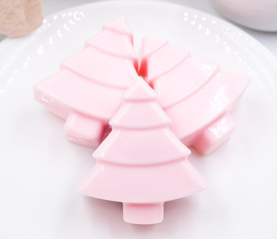 3 PINK PEPPERMINT Christmas Tree Bars | 2.5oz ea. | Soft Pink and Peppermint Scent | Holiday Soap Dish Treat | Stock Up!