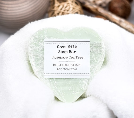 Rosemary Tea Tree Oil Goat Milk Heart | 3.5 oz | Fresh and Healthy for Skin | Leaves Skin Soft and Smooth