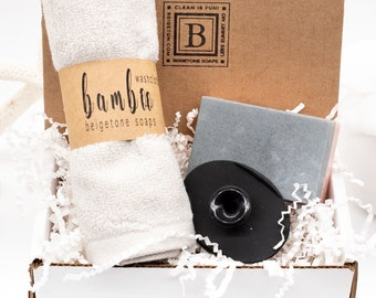 Rose Charcoal Gift Box for Women, Bamboo Washcloth, Facial Scrubbie, Charcoal Bar, Mother's Day Gift Box, New Mom Gift, Gift for Mom