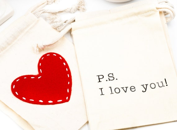 "LOVE Muslin Draw String Gift Bags | 5"" x 7"" 