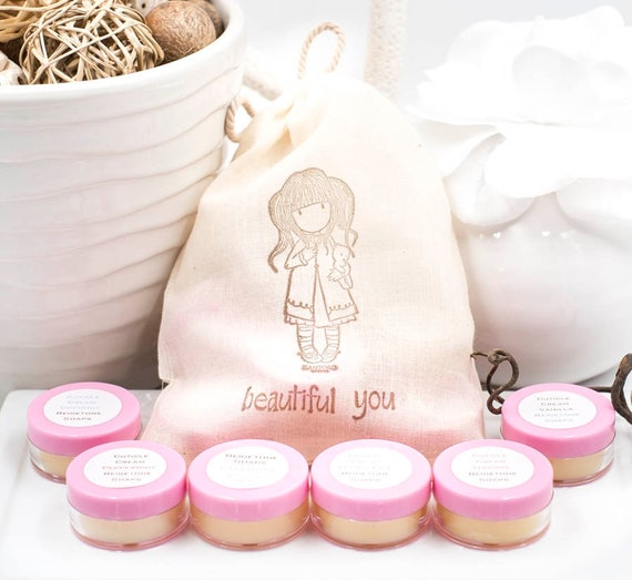 SIX FULL SIZE Cuticle Cream Pods in Cute Musline Drawstring Bag | Peppermint, Lemon-Lime, Orange, Coconut, Vanilla, Lavender