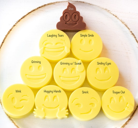 Emoji Soap Set of 6, 1oz ea., Lemon-Lime, Stocking Stuffer, Easter Basket Stuffer, Kids Party Favor, Emoji Party Favors, Emoji Supplies