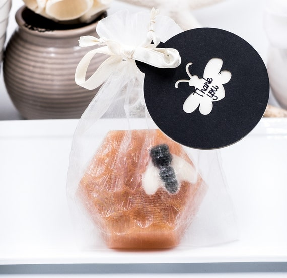 Sweet THANK YOU Bee on Honeycomb Soap in Organza Bag with Thank You Tag | 2.6 oz | Smells Like Warm Sugar