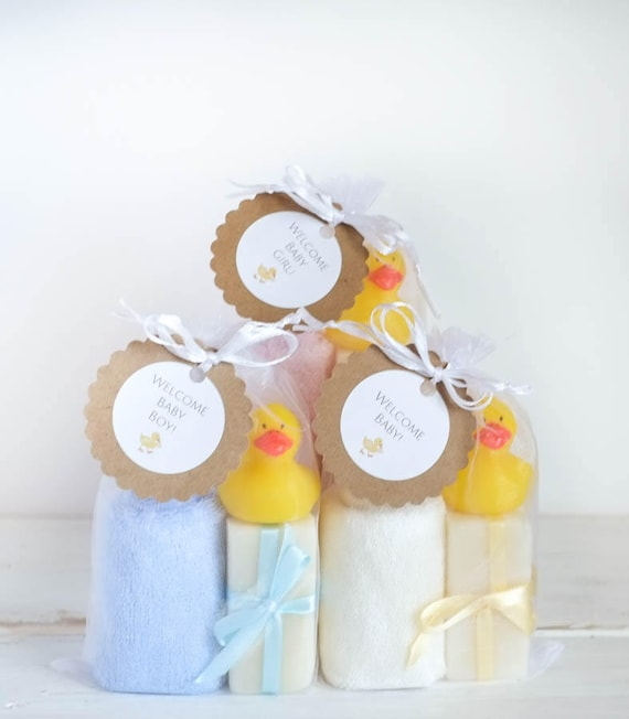 BABY BATH SET | Girl, Boy, Unisex | Three 1oz Infant Size Lavender Soap Bars with Super Soft Bamboo Washcloth and Cute Rubber Ducky