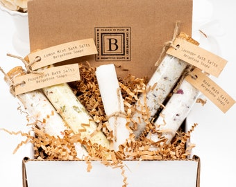 Bath Salts (4) Gift Box for Women, Peppermint, Lemon Mint, Lavender, Rose, Mother's Day Gift Box, Mothers Day Gift for New Mom, Gift for Mom