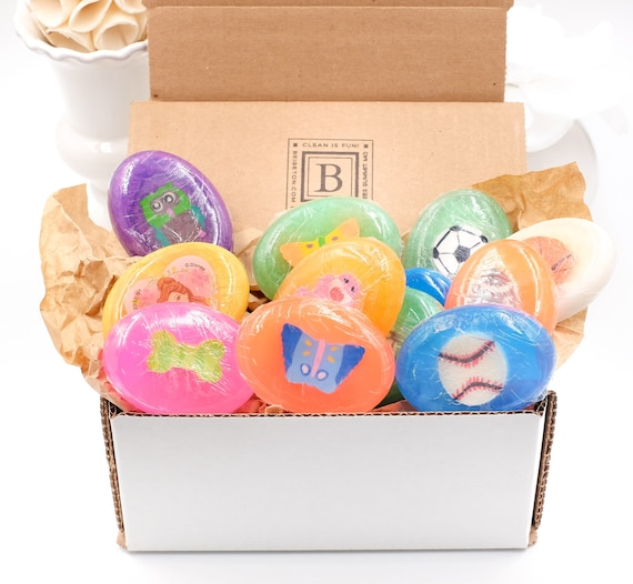KIDS Box of 12 Fun Soaps | 6 Girls, 6 Sport Style ( Soccer, Football, Baseball, Basketball) | Eraser Toy INSIDE!