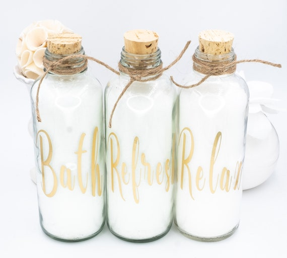 Bath Salts in Elegant 15 oz Cork-Top Glass Jar |  Choose Your Own Saying and Scent