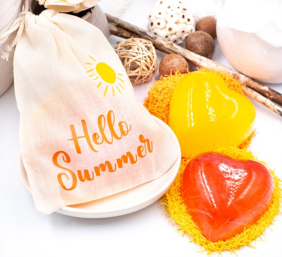 Honey Soap Bar w/ Facial Scrubby in Hello Summer Bag | Pure Honey Soap | Red Heart w/ Yellow Scrubby OR Yellow Heart w/ Red Scrubby