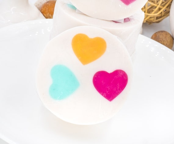 VALENTINES DAY Heart Soap | Soft Apple Vanilla Scent | 4.5 oz | Pairs Perfectly with our Decorative Muslin Bags