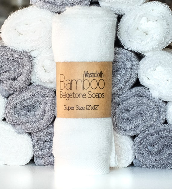 "LUXURY LINE | SUPER Soft Bamboo Washcloth 12"" x 12"" 