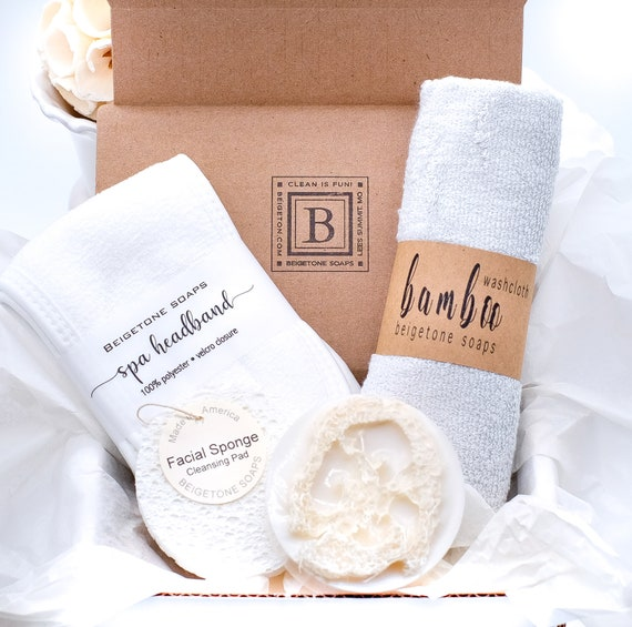Gift Box Natural Grey Washcloth, Peppermint Loofah Soap, Spa Headband, Facial Sponge, Christmas Gift Box, Spa Gift Set, Gift Sets for Women