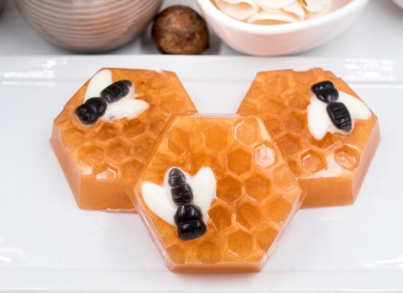 Sweet Bee on Honeycomb Soap Bar | 2.6 oz | Made with Golden Honey Soap and Smells Like Warm Sugar