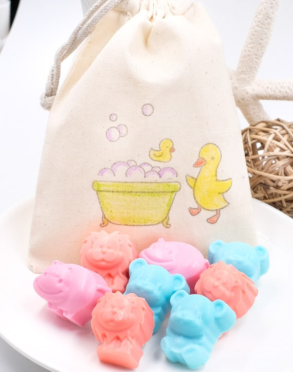 Toddler Soaps in Ducky Bag, 8 Animals, Lemon-Lime Scent, Kids, Kids Gifts, Kids Bathroom, Party Favors, Party Gifts, Gifts Under 10