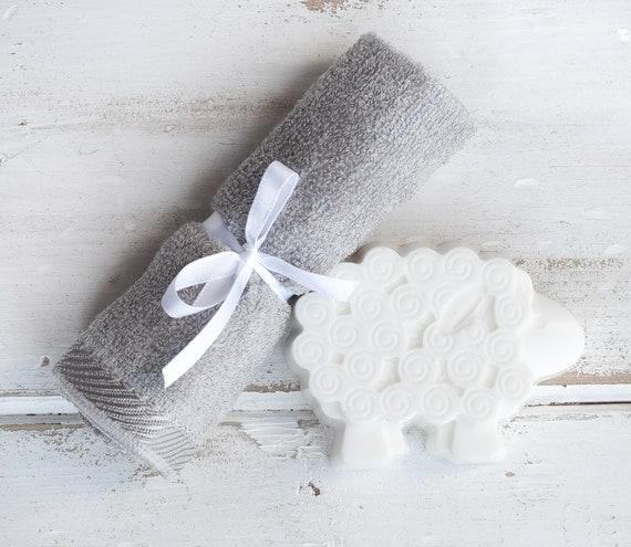 Lavender Sheep Soap w/ Grey Bamboo Washcloth, Baby Shower Gift, Boy, Girl, Soap, Bath, New Baby, New Born, Gifts Under 15, under 20