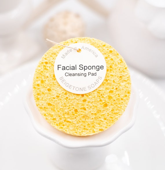 "Spa Facial Sponge, Daffodil, All Natural, Made in USA, 3"" round 3.4"" thick, Face Sponges, Spa Gift Idea, Self Care, Christmas Gifts"