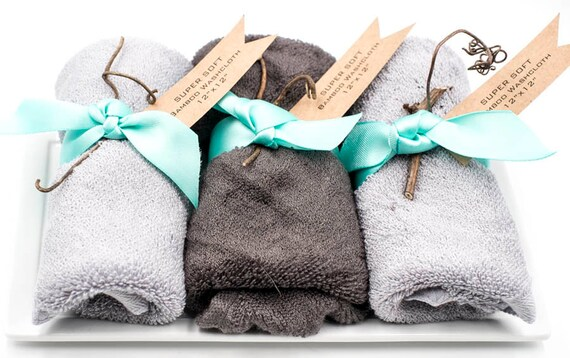 "Grey SUPER SOFT Bamboo Washcloth 14"" x 14"" 