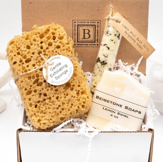 """Gentle Exfoliating Sponge Gift Box, Sponge 3""""x2""""x4.5"""", Lemon Mint Bath Salts, Lemon Soap, Mother's Day Gift Box, New Mom Gift, Gift for Mom"""