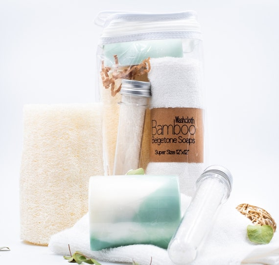 SPA SET | Eucalyptus Rosemary Clove | 4oz Soap Bar, Luffa Sponge, Bath Salts, Bamboo Washcloth | Perfect Pampering