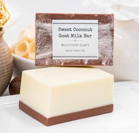 BUTTERY Sweet Coconut Goat Milk Soap Bar | 5oz Block | Soothing Bubbly Body Bar