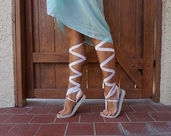 Choose Length Ankle or Knee High Pale Gold Interchangeable  Gladiator  Sandal Laces