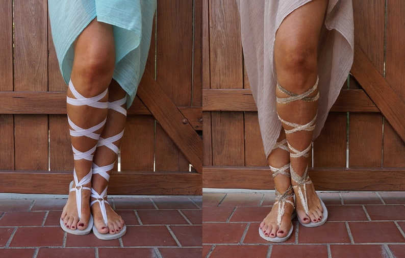6f30ba8d1945 Women s White Lace Up Gladiator Sandals. TWO pair of