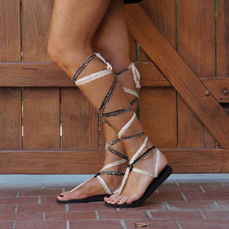 221b2e878 Gladiator Sandals with Interchangeable Laces. Knee High Lace