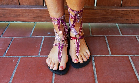 deep gladiator beautiful with sandals up red Ankle boho lace plum Gypsy chic length lilac and laces HFttY0