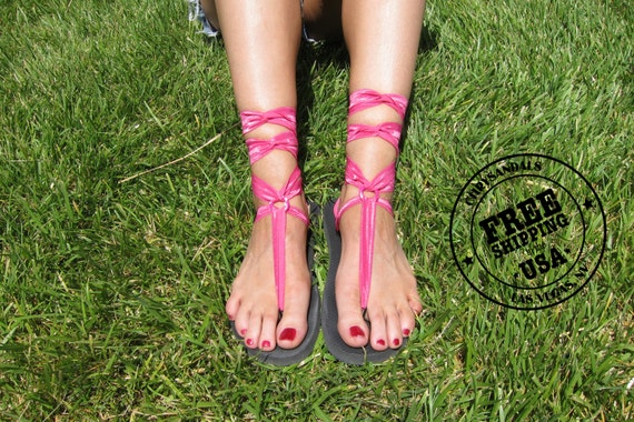 a62ec330879d Short Gladiator Sandals for Women with Hot Pink Laces.